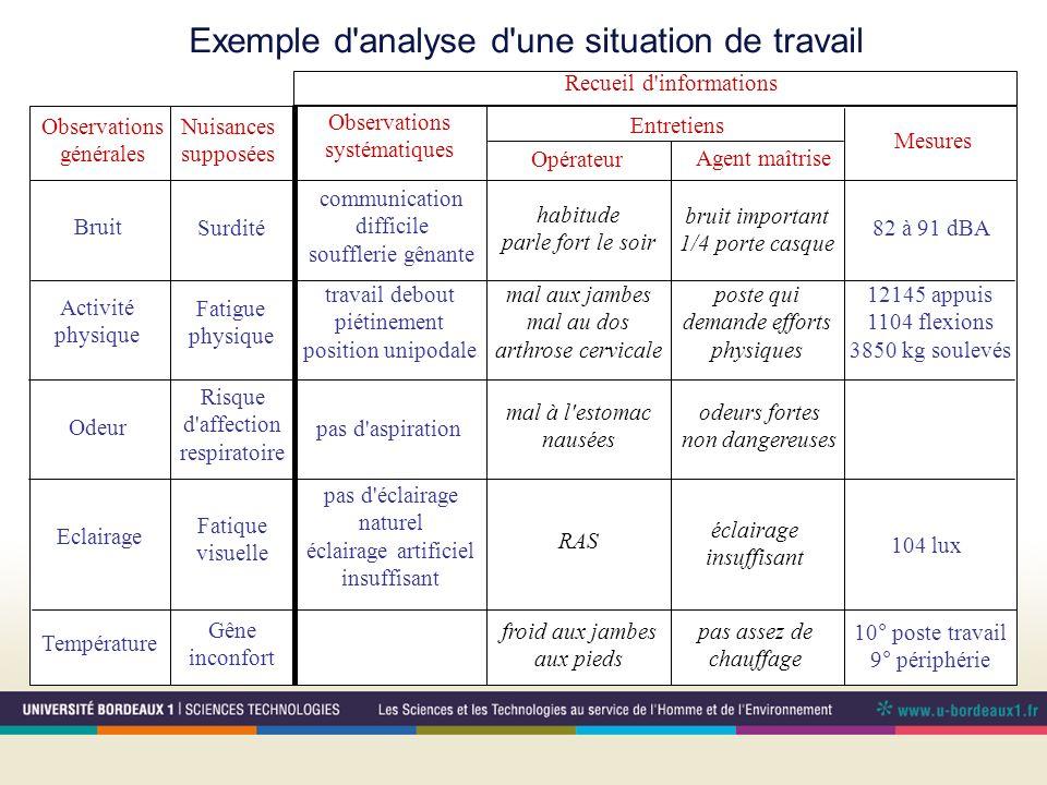 Exemple d'analyse d'une situation de travail Observations générales Nuisances supposées Observations systématiques Entretiens Opérateur Agent maîtrise