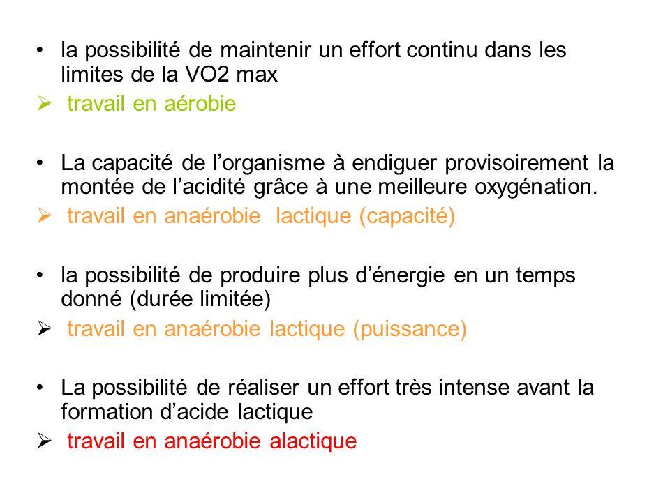 la possibilité de maintenir un effort continu dans les limites de la VO2 max travail en aérobie La capacité de lorganisme à endiguer provisoirement la