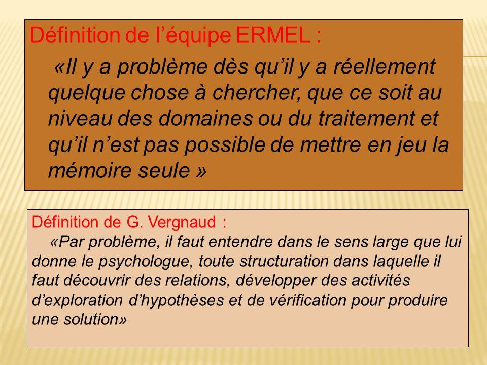 Définition de léquipe ERMEL : «Il y a problème dès quil y a réellement quelque chose à chercher, que ce soit au niveau des domaines ou du traitement e