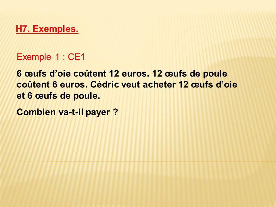 Exemple 1 : CE1 6 œufs doie coûtent 12 euros. 12 œufs de poule coûtent 6 euros. Cédric veut acheter 12 œufs doie et 6 œufs de poule. Combien va-t-il p