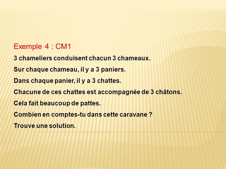 Exemple 4 : CM1 3 chameliers conduisent chacun 3 chameaux. Sur chaque chameau, il y a 3 paniers. Dans chaque panier, il y a 3 chattes. Chacune de ces