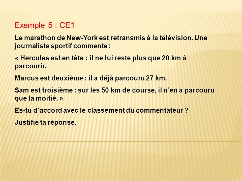 Exemple 5 : CE1 Le marathon de New-York est retransmis à la télévision. Une journaliste sportif commente : « Hercules est en tête : il ne lui reste pl