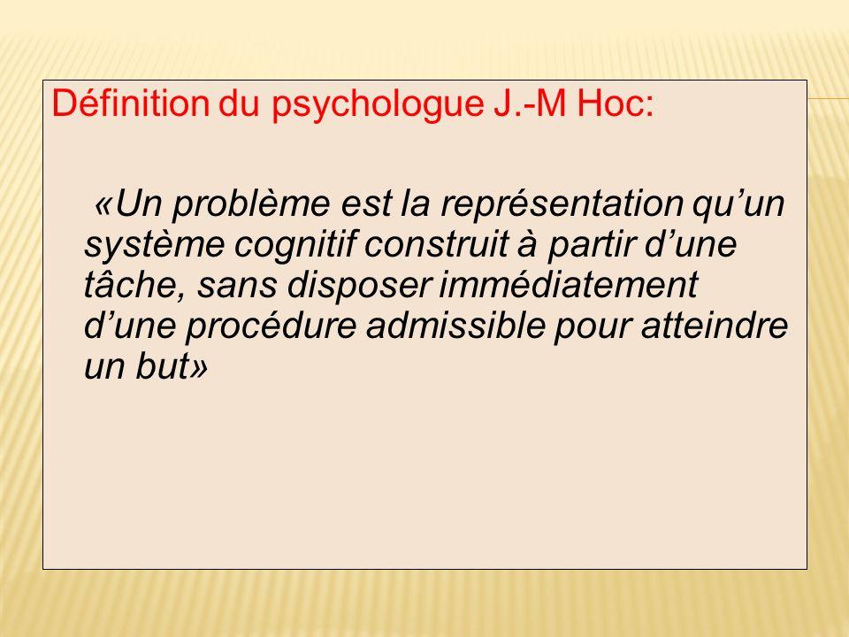 Définition du psychologue J.-M Hoc: «Un problème est la représentation quun système cognitif construit à partir dune tâche, sans disposer immédiatemen