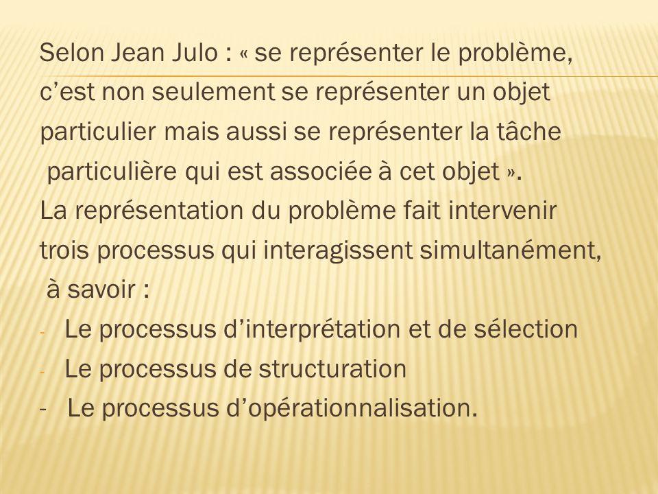 Selon Jean Julo : « se représenter le problème, cest non seulement se représenter un objet particulier mais aussi se représenter la tâche particulière