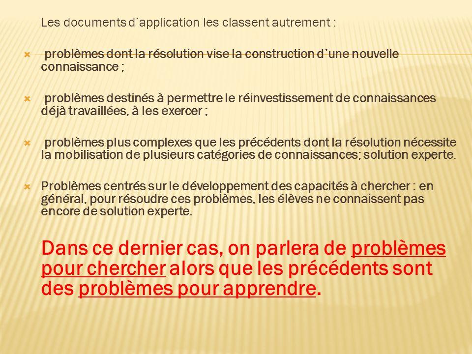 Les documents dapplication les classent autrement : problèmes dont la résolution vise la construction dune nouvelle connaissance ; problèmes destinés