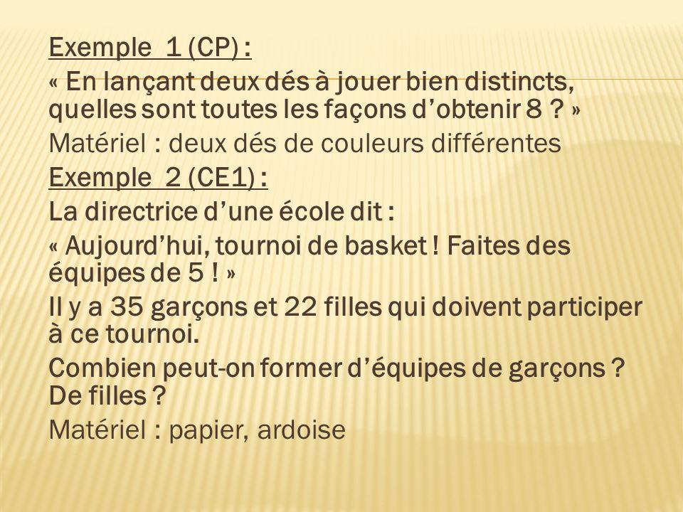 Exemple 1 (CP) : « En lançant deux dés à jouer bien distincts, quelles sont toutes les façons dobtenir 8 ? » Matériel : deux dés de couleurs différent