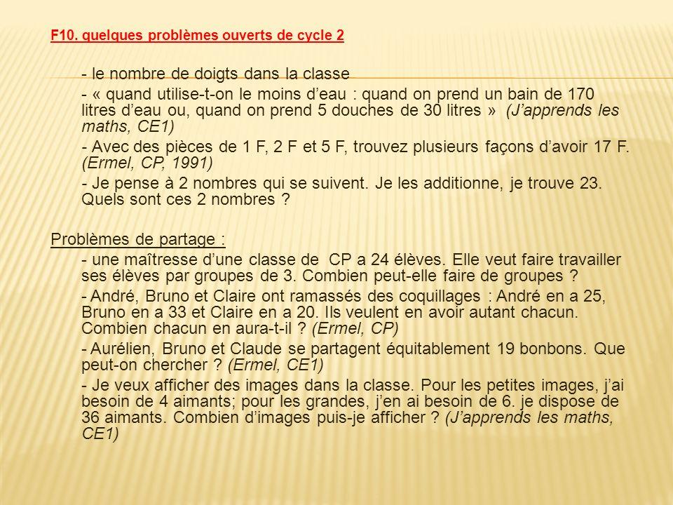 F10. quelques problèmes ouverts de cycle 2 - le nombre de doigts dans la classe - « quand utilise-t-on le moins deau : quand on prend un bain de 170 l