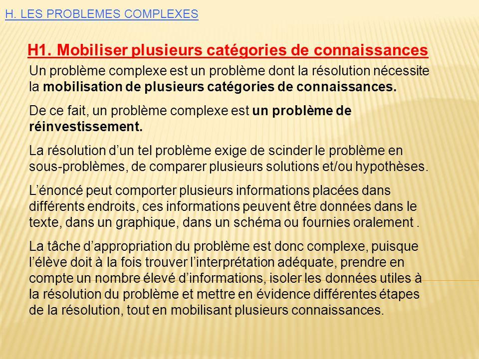Un problème complexe est un problème dont la résolution nécessite la mobilisation de plusieurs catégories de connaissances. De ce fait, un problème co