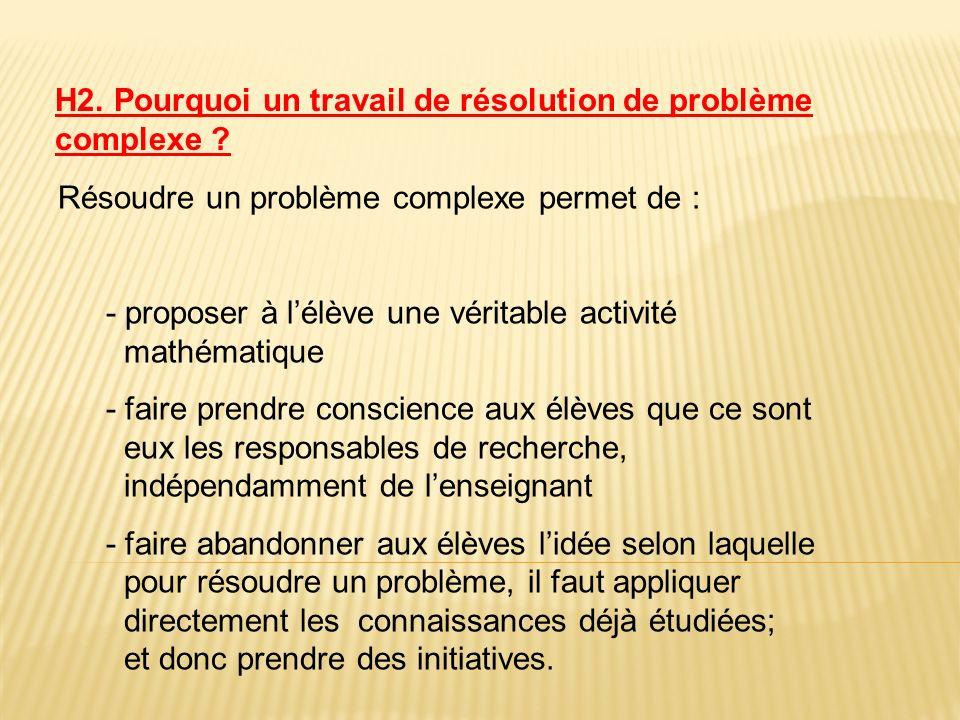 Résoudre un problème complexe permet de : - proposer à lélève une véritable activité mathématique - faire prendre conscience aux élèves que ce sont eu