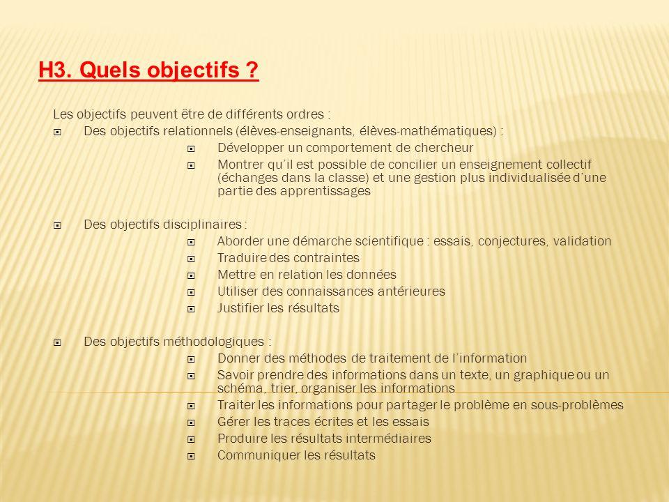 H3. Quels objectifs ? Les objectifs peuvent être de différents ordres : Des objectifs relationnels (élèves-enseignants, élèves-mathématiques) : Dévelo