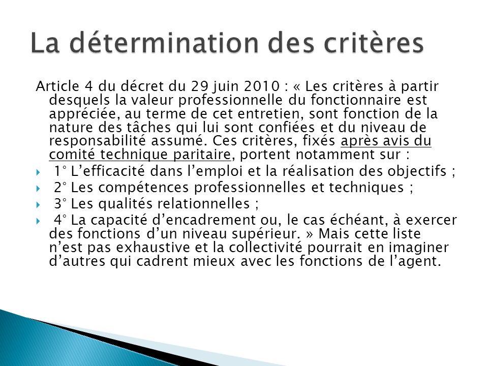 Article 4 du décret du 29 juin 2010 : « Les critères à partir desquels la valeur professionnelle du fonctionnaire est appréciée, au terme de cet entretien, sont fonction de la nature des tâches qui lui sont confiées et du niveau de responsabilité assumé.