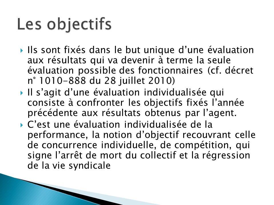 Ils sont fixés dans le but unique dune évaluation aux résultats qui va devenir à terme la seule évaluation possible des fonctionnaires (cf.