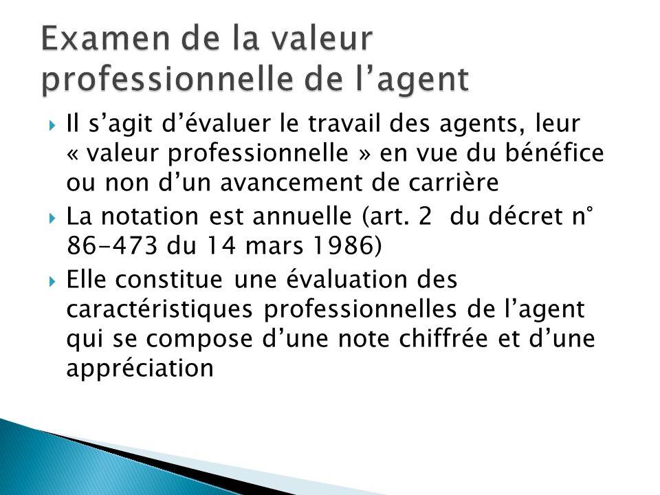 Il sagit dévaluer le travail des agents, leur « valeur professionnelle » en vue du bénéfice ou non dun avancement de carrière La notation est annuelle (art.