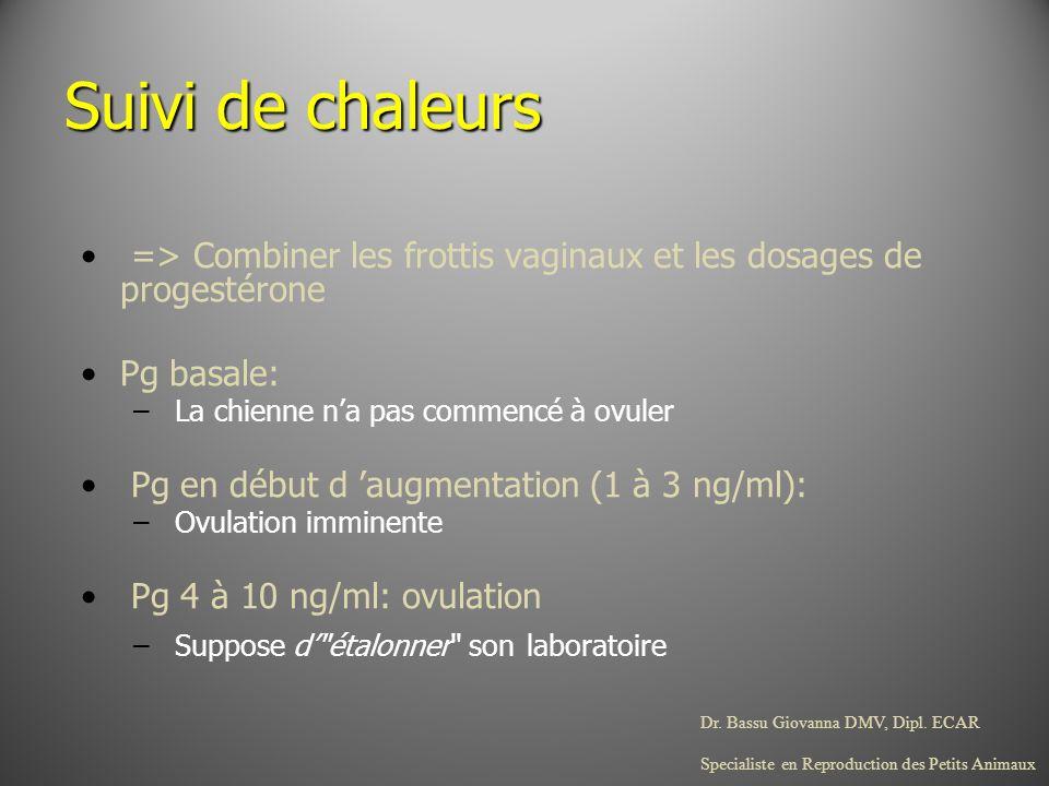 Dr. Bassu Giovanna DMV, Dipl. ECAR Specialiste en Reproduction des Petits Animaux Suivi de chaleurs => Combiner les frottis vaginaux et les dosages de