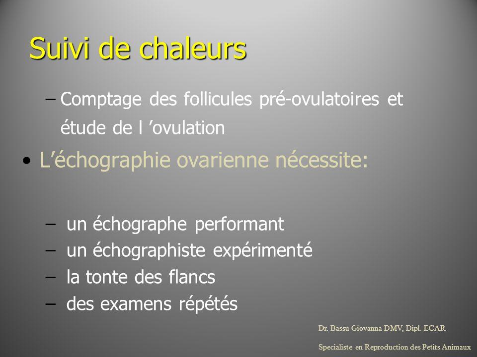 Dr. Bassu Giovanna DMV, Dipl. ECAR Specialiste en Reproduction des Petits Animaux Suivi de chaleurs –Comptage des follicules pré-ovulatoires et étude