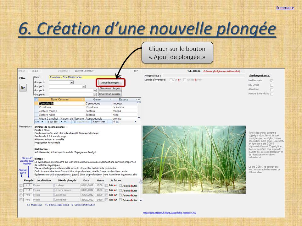 6. Création dune nouvelle plongée Cliquer sur le bouton « Ajout de plongée » Sommaire