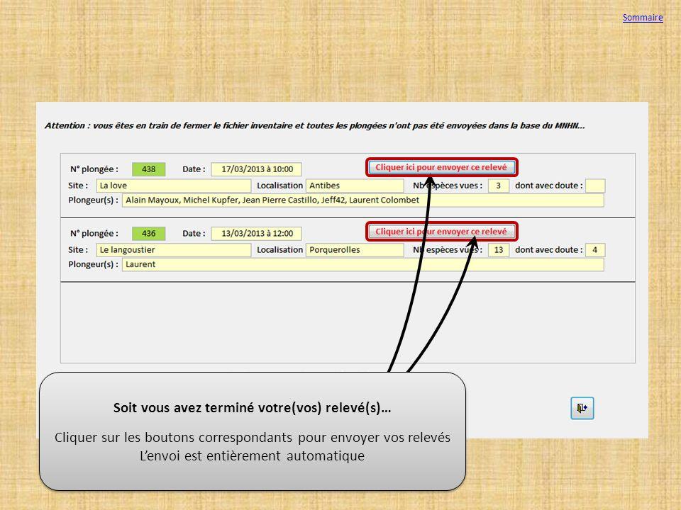 Soit vous avez terminé votre(vos) relevé(s)… Cliquer sur les boutons correspondants pour envoyer vos relevés Lenvoi est entièrement automatique Soit v