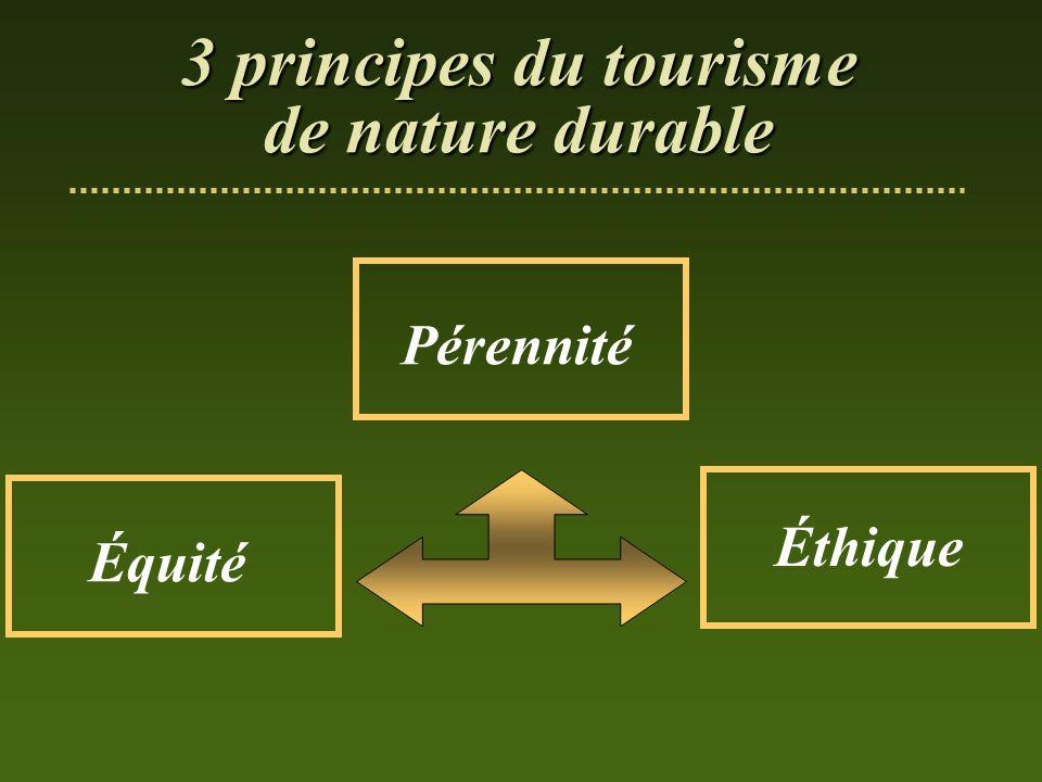 Pérennité Équité Éthique 3 principes du tourisme de nature durable