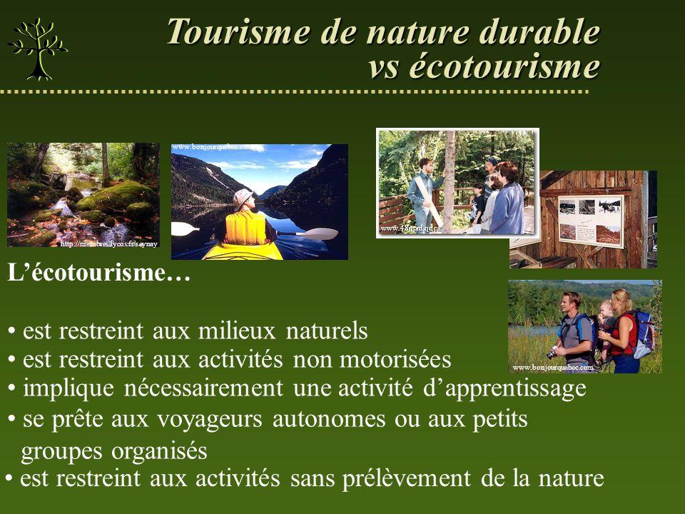 Tourisme de nature durable vs écotourisme est restreint aux activités sans prélèvement de la nature implique nécessairement une activité dapprentissag