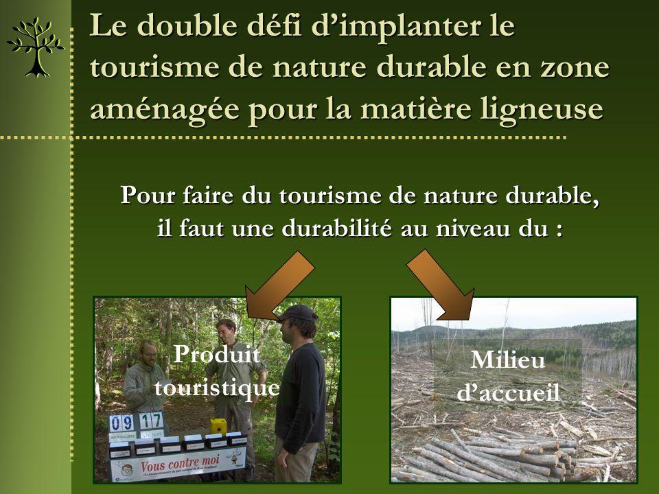 Le double défi dimplanter le tourisme de nature durable en zone aménagée pour la matière ligneuse Pour faire du tourisme de nature durable, il faut un