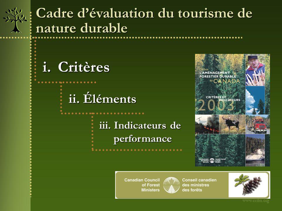i.Critères ii. Éléments iii. Indicateurs de performance performance Cadre dévaluation du tourisme de nature durable www.ccfm.org