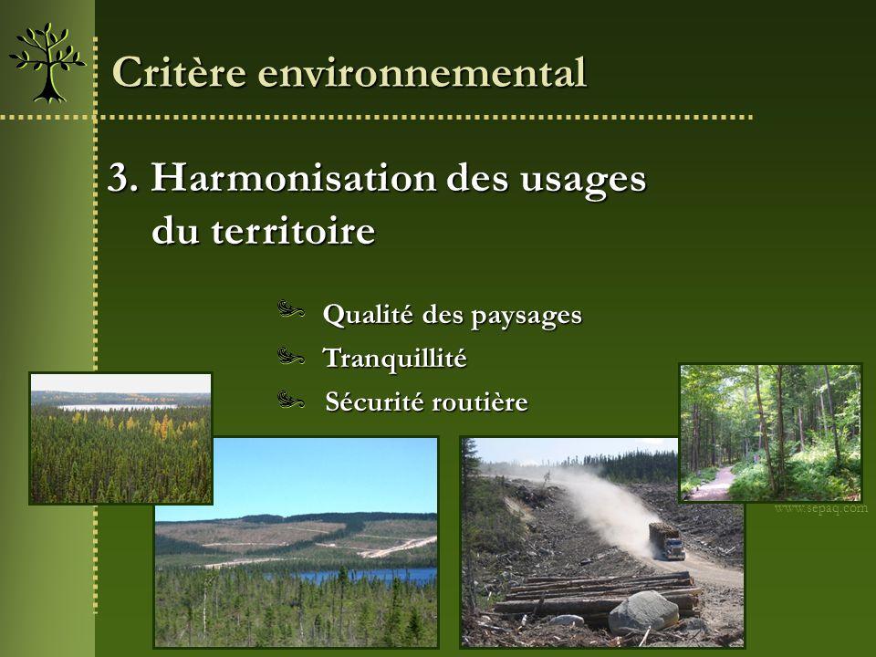 3. Harmonisation des usages du territoire du territoire Sécurité routière Tranquillité www.sepaq.com Qualité des paysages Critère environnemental