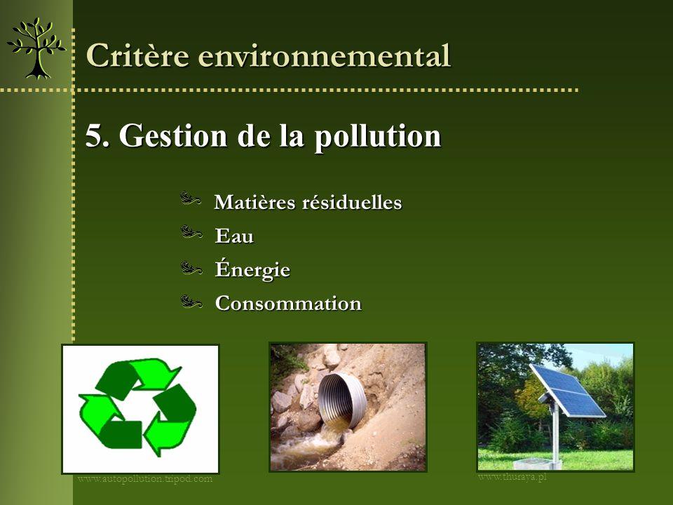 5. Gestion de la pollution www.autopollution.tripod.com Critère environnemental Eau Consommation Énergie Matières résiduelles www.thuraya.pl