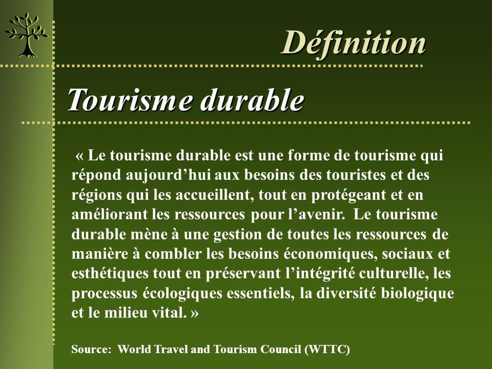 Tourisme durable « Le tourisme durable est une forme de tourisme qui répond aujourdhui aux besoins des touristes et des régions qui les accueillent, t