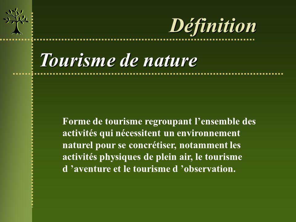 Forme de tourisme regroupant lensemble des activités qui nécessitent un environnement naturel pour se concrétiser, notamment les activités physiques d