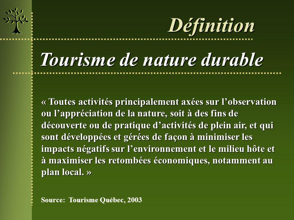 Définition Tourisme de nature durable « Toutes activités principalement axées sur lobservation ou lappréciation de la nature, soit à des fins de décou