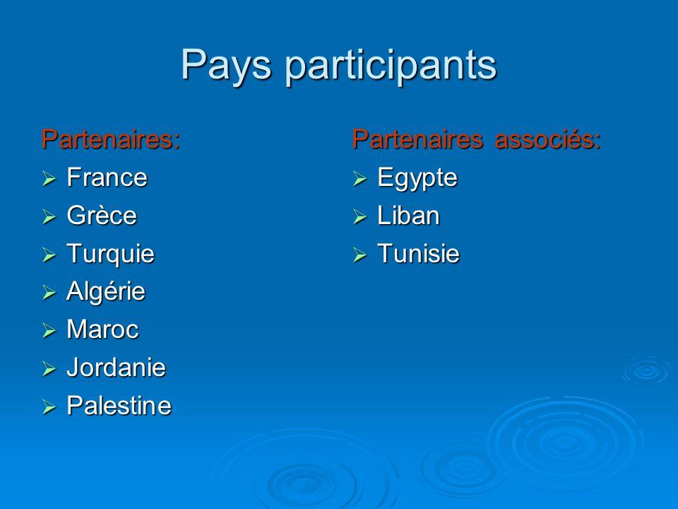 Pays participants Partenaires: France France Grèce Grèce Turquie Turquie Algérie Algérie Maroc Maroc Jordanie Jordanie Palestine Palestine Partenaires