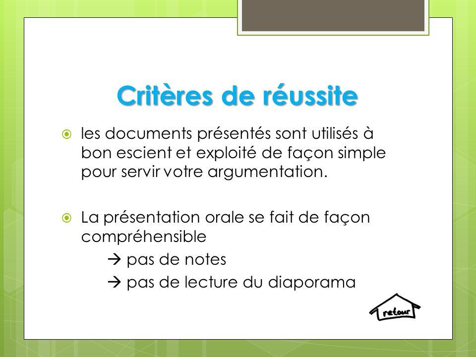 Critères de réussite les documents présentés sont utilisés à bon escient et exploité de façon simple pour servir votre argumentation. La présentation