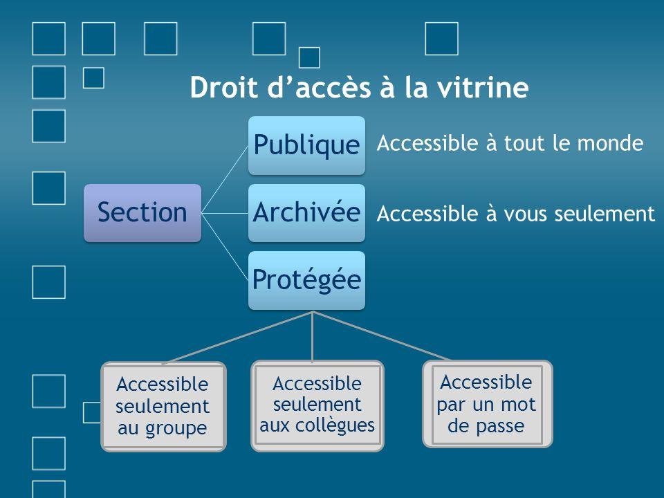 Droit daccès à la vitrine SectionPubliqueArchivéeProtégée Accessible à tout le monde Accessible à vous seulement Accessible seulement au groupe Access