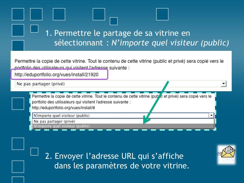 1.Permettre le partage de sa vitrine en sélectionnant : Nimporte quel visiteur (public) 2. Envoyer ladresse URL qui saffiche dans les paramètres de vo