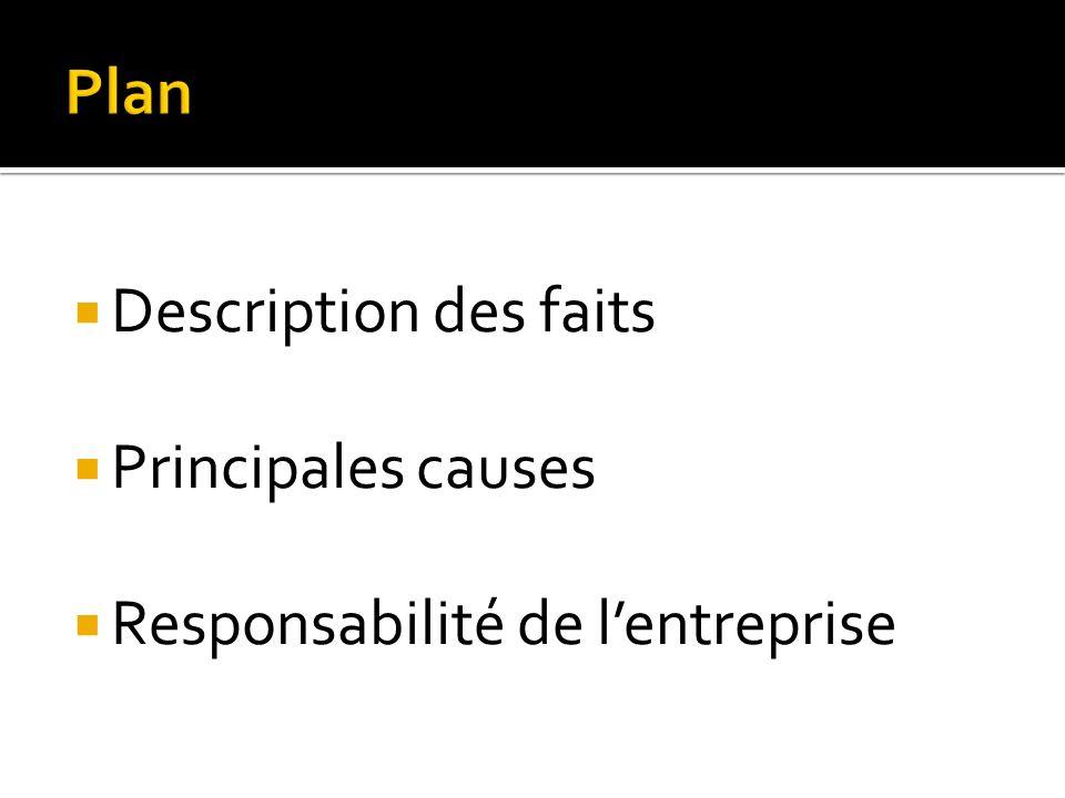 Description des faits Principales causes Responsabilité de lentreprise