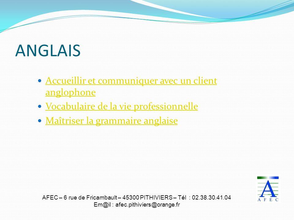 AFEC – 6 rue de Fricambault – 45300 PITHIVIERS – Tél : 02.38.30.41.04 Em@il : afec.pithiviers@orange.fr ANGLAIS Accueillir et communiquer avec un clie
