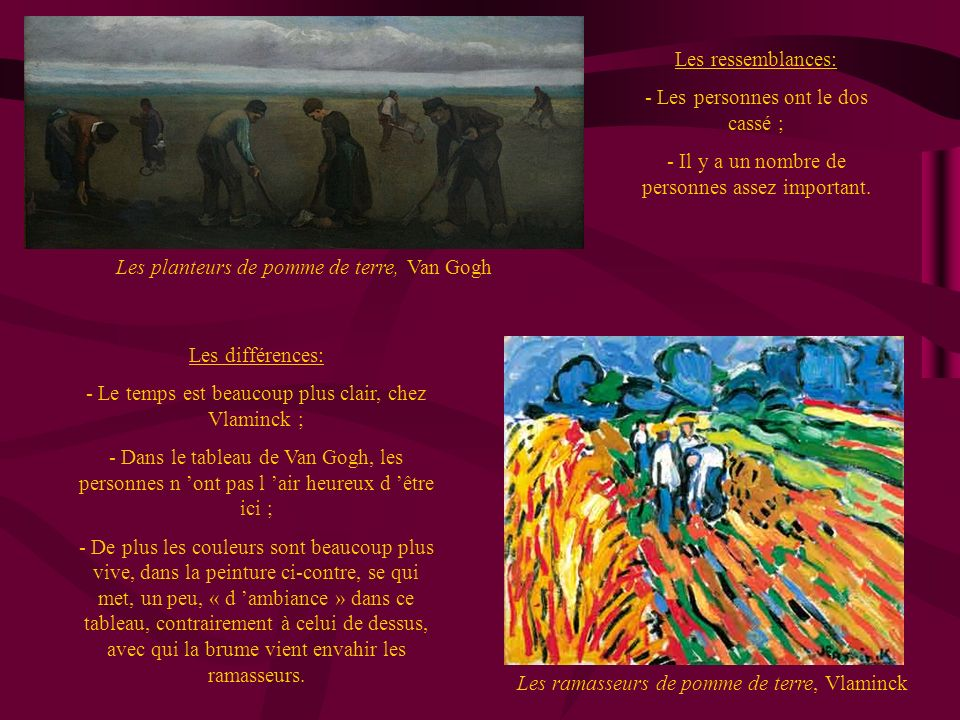 Les planteurs de pomme de terre, Van Gogh Les ramasseurs de pomme de terre, Vlaminck Les ressemblances: - Les personnes ont le dos cassé ; - Il y a un nombre de personnes assez important.