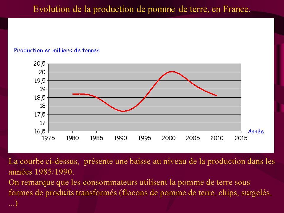 Evolution de la production de pomme de terre, en France. La courbe ci-dessus, présente une baisse au niveau de la production dans les années 1985/1990