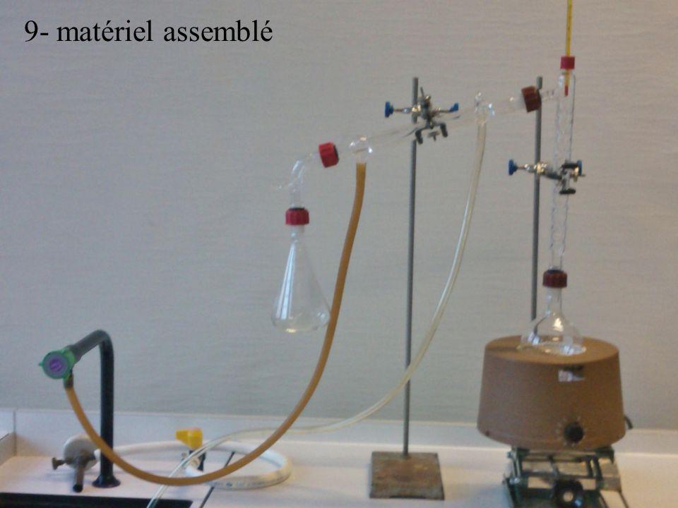 5- thermomètre 6- coude 7- erlenmeyer 8- éprouvette 9- matériel assemblé