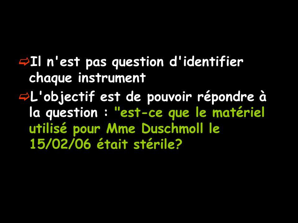 Il n'est pas question d'identifier chaque instrument L'objectif est de pouvoir répondre à la question :