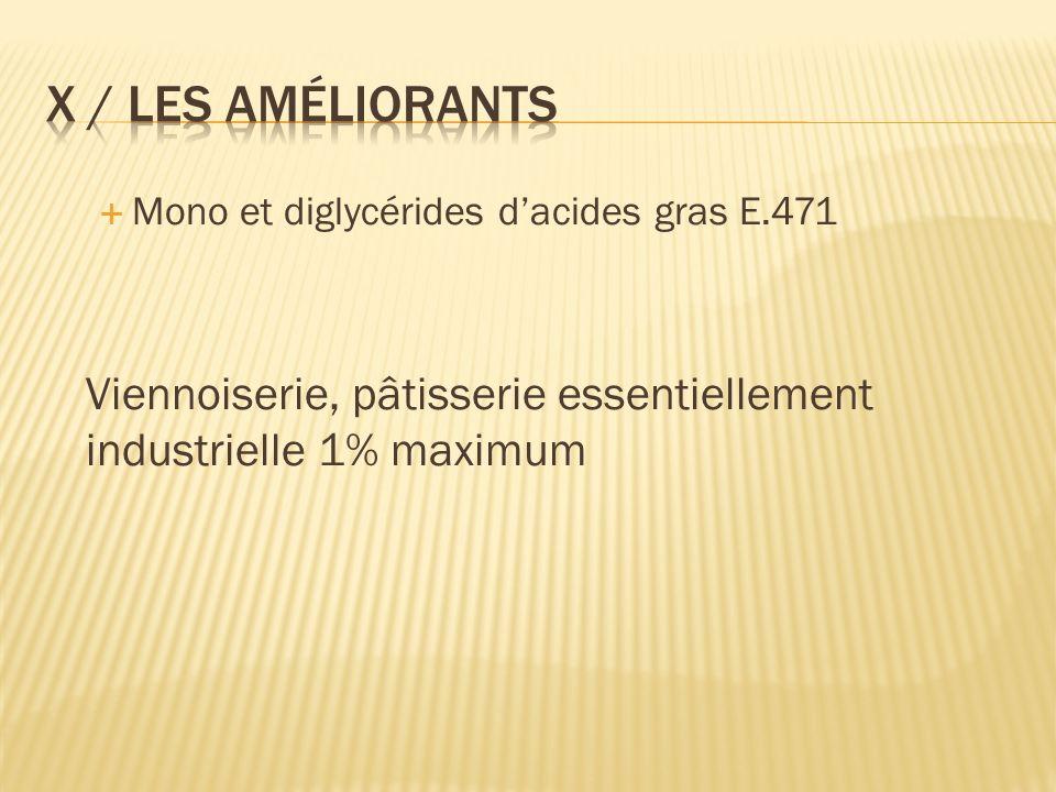 Mono et diglycérides dacides gras E.471 Viennoiserie, pâtisserie essentiellement industrielle 1% maximum