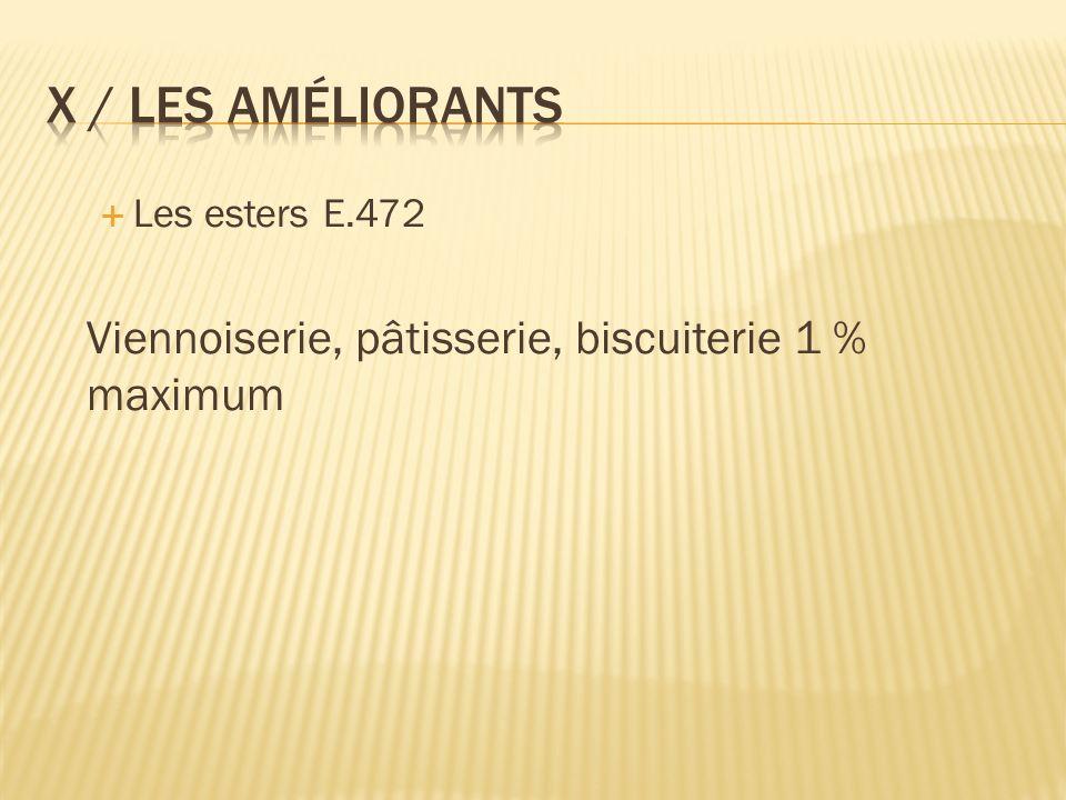 Les esters E.472 Viennoiserie, pâtisserie, biscuiterie 1 % maximum