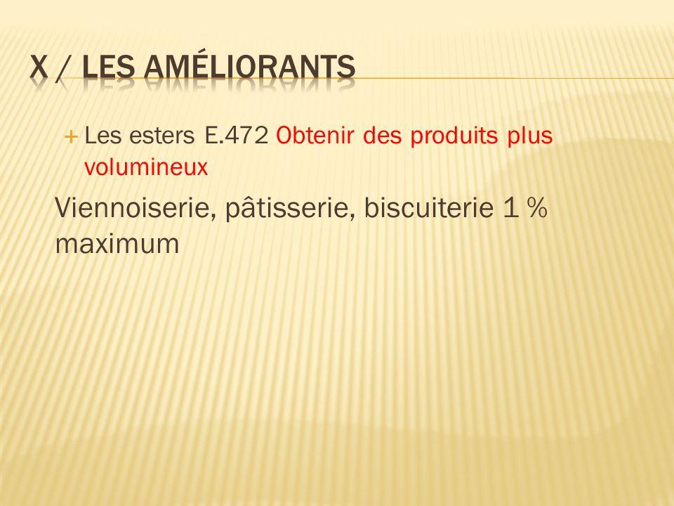 Les esters E.472 Obtenir des produits plus volumineux Viennoiserie, pâtisserie, biscuiterie 1 % maximum