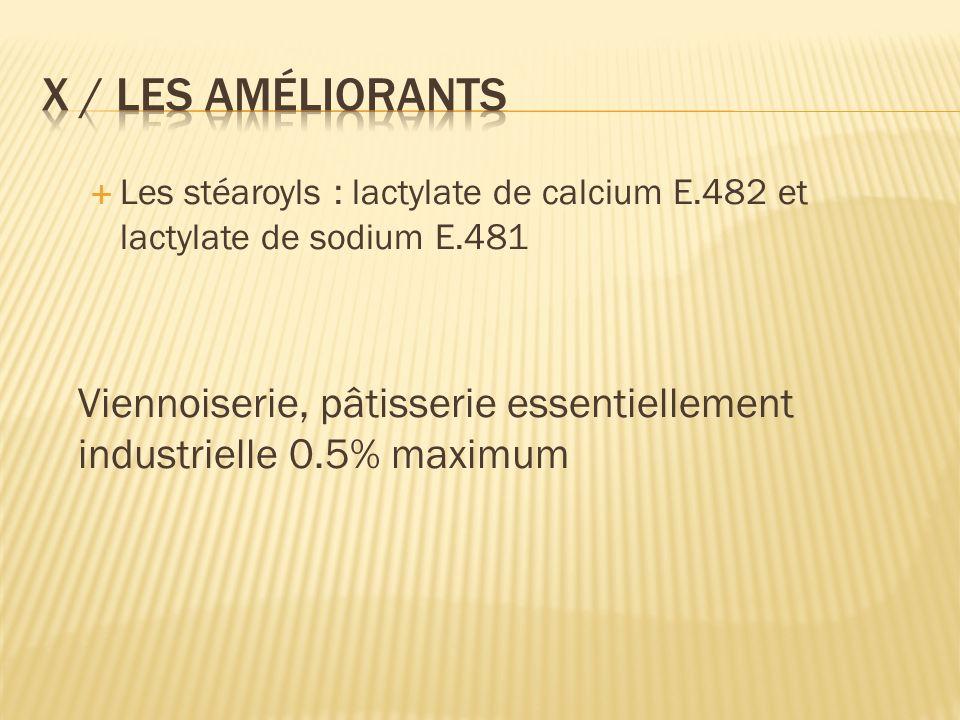 Les stéaroyls : lactylate de calcium E.482 et lactylate de sodium E.481 Viennoiserie, pâtisserie essentiellement industrielle 0.5% maximum