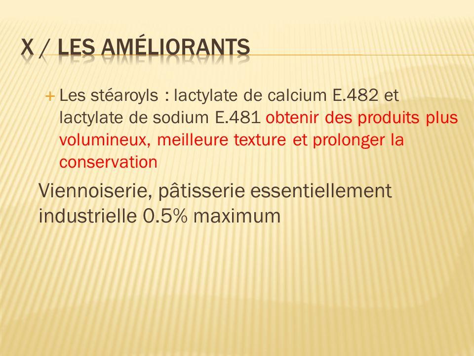 Les stéaroyls : lactylate de calcium E.482 et lactylate de sodium E.481 obtenir des produits plus volumineux, meilleure texture et prolonger la conservation Viennoiserie, pâtisserie essentiellement industrielle 0.5% maximum