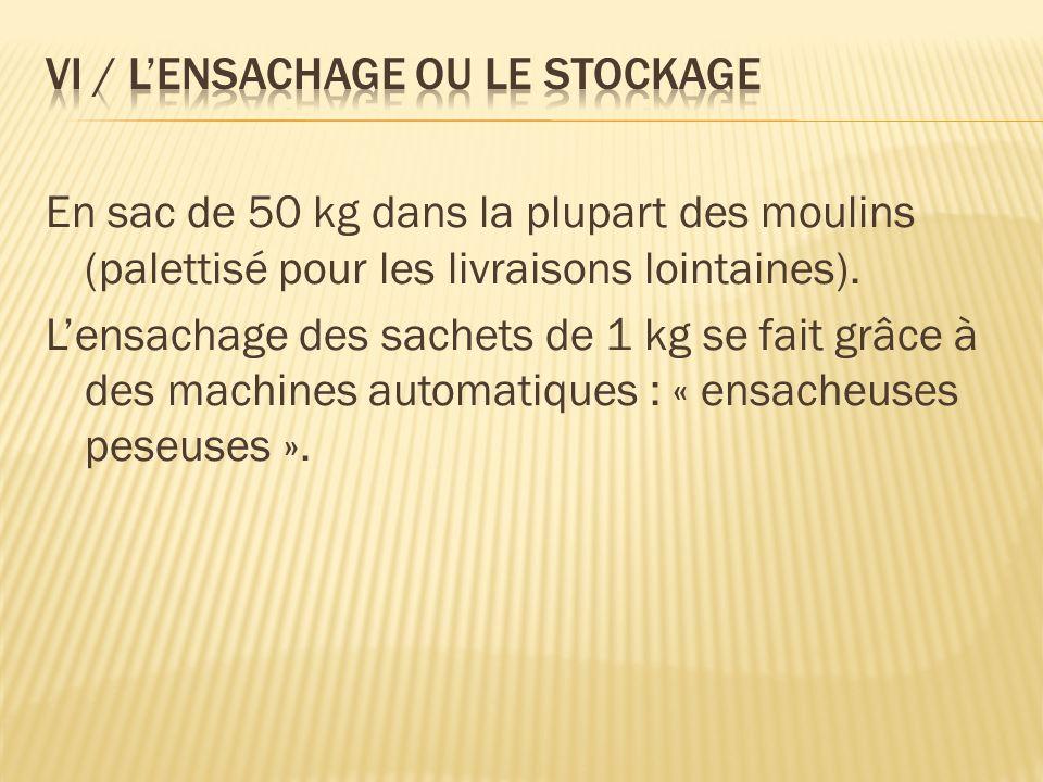 En sac de 50 kg dans la plupart des moulins (palettisé pour les livraisons lointaines). Lensachage des sachets de 1 kg se fait grâce à des machines au