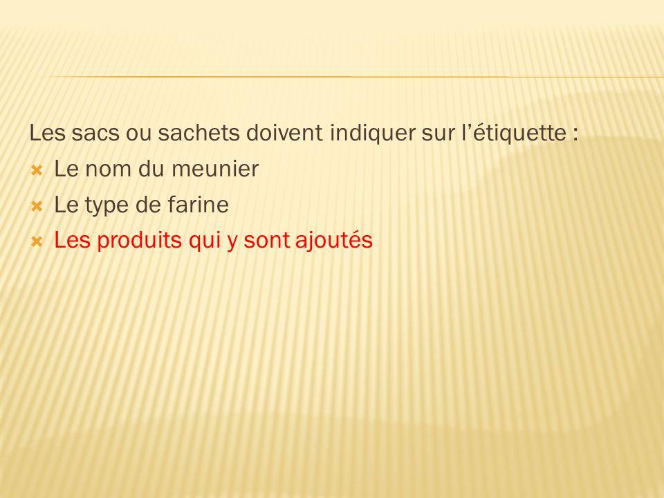 Les sacs ou sachets doivent indiquer sur létiquette : Le nom du meunier Le type de farine Les produits qui y sont ajoutés
