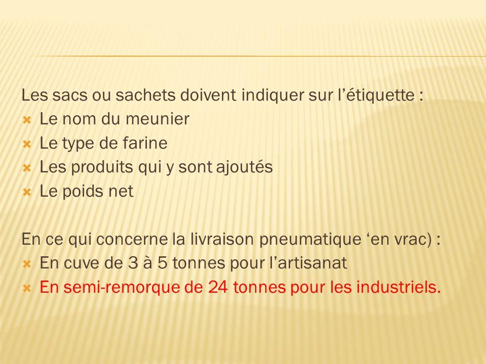 Les sacs ou sachets doivent indiquer sur létiquette : Le nom du meunier Le type de farine Les produits qui y sont ajoutés Le poids net En ce qui concerne la livraison pneumatique en vrac) : En cuve de 3 à 5 tonnes pour lartisanat En semi-remorque de 24 tonnes pour les industriels.