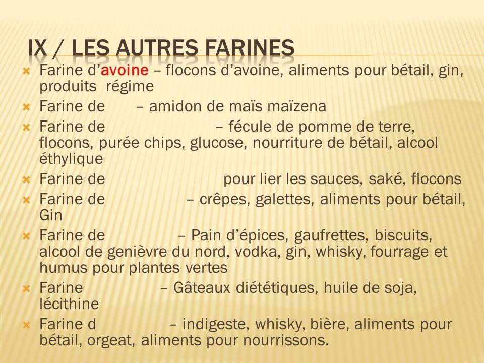 Farine davoine – flocons davoine, aliments pour bétail, gin, produits régime Farine de – amidon de maïs maïzena Farine de – fécule de pomme de terre,