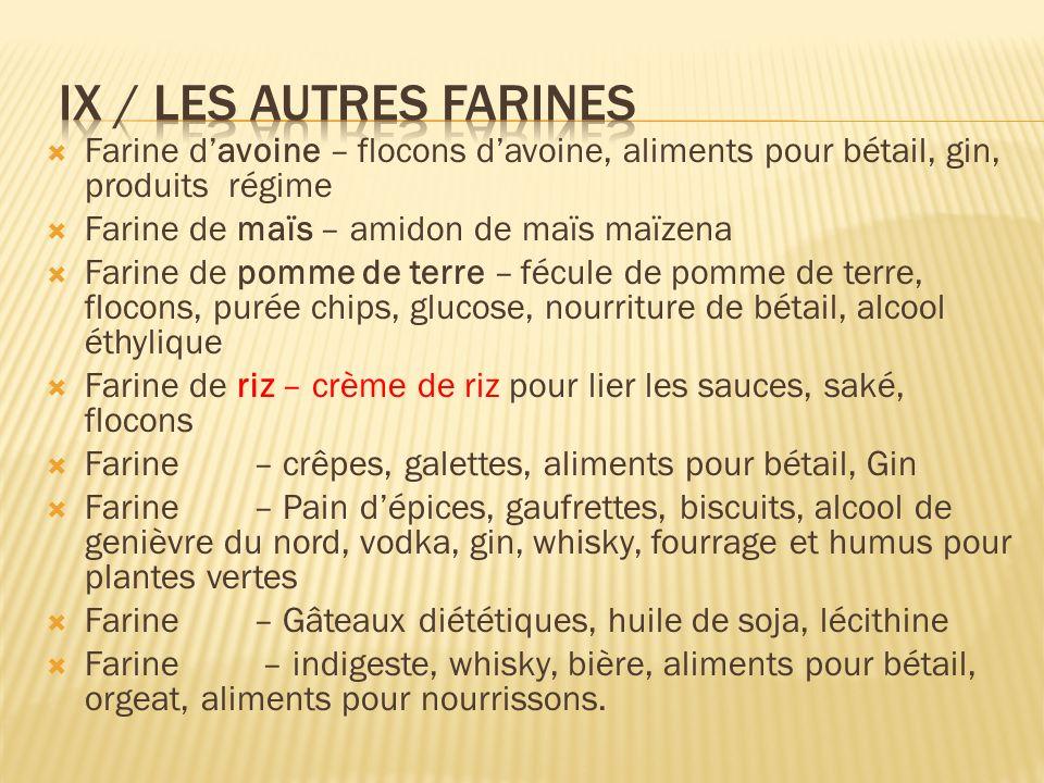 Farine davoine – flocons davoine, aliments pour bétail, gin, produits régime Farine de maïs – amidon de maïs maïzena Farine de pomme de terre – fécule